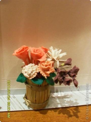 Попробовала лепить цветы из пластики. Интересно и захватывающе. Получилось не очень, но буду тренироваться. Спасибо всем мастерам за уроки. фото 2
