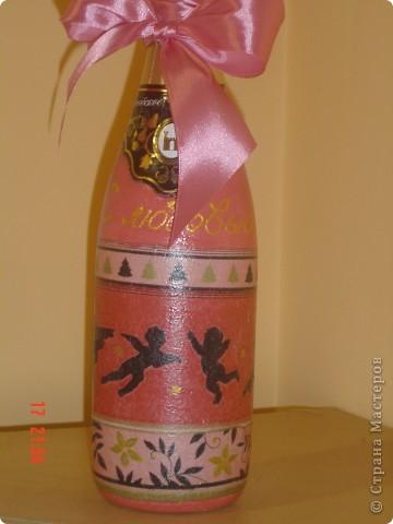 Попросили изготовить пару бутылок в подарок. Оформление горлышка у кого-то подсмотрела. Спасибо! фото 3