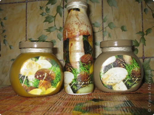 баночки для соли и сухих травок, бутылка под масло