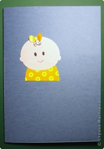 """Здравствуй, Малышка! Эта открытка выполнена в нескольких техниках: вырезание, объёмная аппликация.  Использовано: картон цветной двусторонний (""""Для детского творчества""""), картон с рисунком, бумага для графических работ, двусторонний толстый скотч. фото 4"""