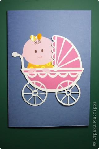"""Здравствуй, Малышка! Эта открытка выполнена в нескольких техниках: вырезание, объёмная аппликация.  Использовано: картон цветной двусторонний (""""Для детского творчества""""), картон с рисунком, бумага для графических работ, двусторонний толстый скотч. фото 1"""