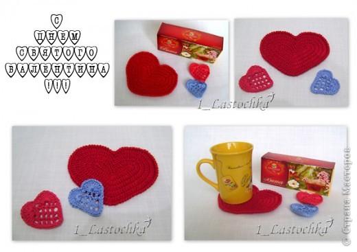 Приближается праздник всех влюбленных - День Святого Валентина. Предлагаю связать сердечки -подставки под горячую кружку  фото 1