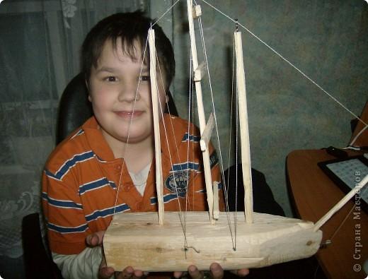 Такой корабль сделал старший сын на кружке в школе.