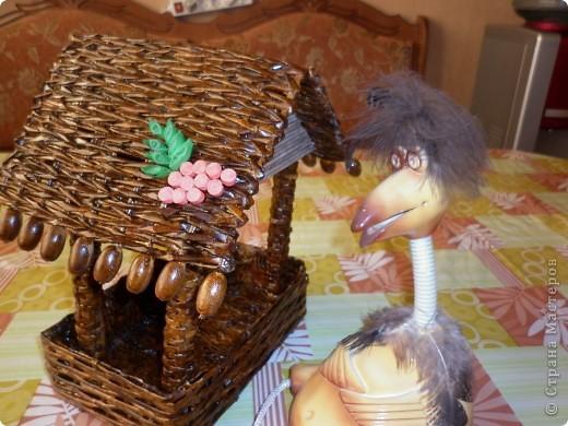Актуально! Как известно, самыми голодными для птичек являются февраль и март. Вот такую кормушку для птиц смастерили мы с детьми! Все части данной конструкции плелись - красились - покрывались лаком отдельно друг от друга. фото 6