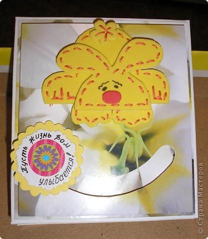 Побродив по просторам интернета, наткнулась на идею открыток с движущимися элементами http://rus-scrap.ru/ideas/idei-s-dvizhuschimisya-detalyami.html. И сразу же идея нашла себе применение - нужна была коробочка для подарка. Вот мой Солнечный зайчик. Самого зайца нашла на сайте http://stranamasterov.ru/node/100097?c=favorite Только мой не из салфеток, а из флекса, абсолютно плоский. фото 1