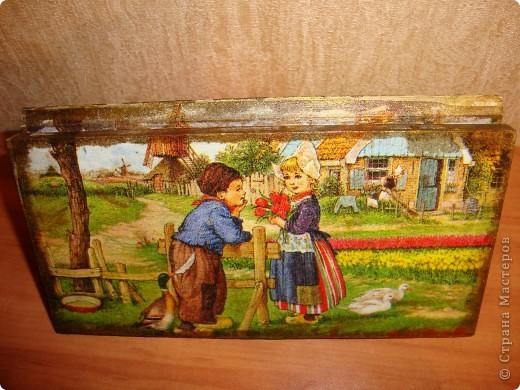Прямой декупаж-краска с эффектом керамики,три оттенка золотой краски,кракелюр,лаки. фото 9