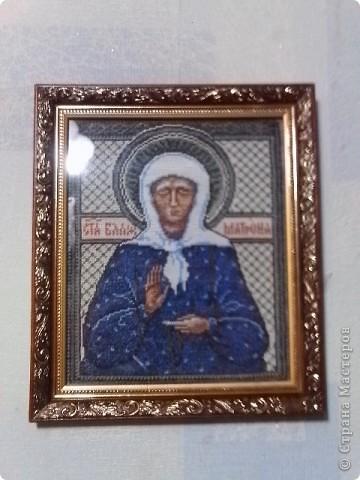 Моя самая любимая святая Матронушка. Не удержалась, что бы не вышить ее икону. фото 1