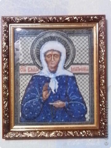 Моя самая любимая святая Матронушка. Не удержалась, что бы не вышить ее икону. фото 2