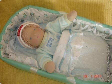 Вальдорфская кукла 38 см, хб трикотаж, набивка шерсть фото 3
