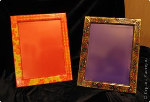 Эти рамочки предназначены для зеркал. Это подарки двум моим подружкам на ДР. К ним еще будет кое-что.  Зеркало надо резать - жду мужа.))) фото 1