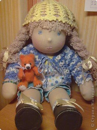 Вальдорфская кукла 38 см, хб трикотаж, набивка шерсть фото 7