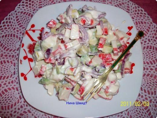 Салат с крабовыми палочками и авокадо «Амалия» фото 5