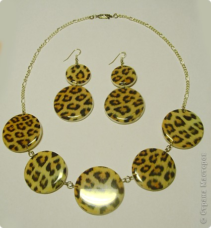 "Набор : бусы и серьги "" Леопард"" фото 1"