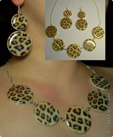 "Набор : бусы и серьги "" Леопард"" фото 3"