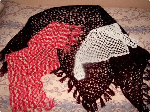 Представляю вам свои последние вязанные вещички: шарф, косынку и шаль. фото 1