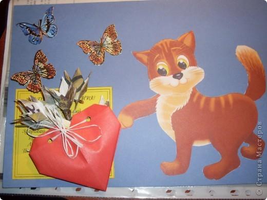 открытка-аппликация, сердечко и цветочки - модульное оригами (авторам огромное спасибо за вдохновение - http://stranamasterov.ru/node/144100?c=favorite и http://stranamasterov.ru/node/142818)