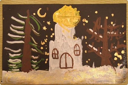 Наши январские произведения на уроках рисования. Снегири на ветке.   фото 2