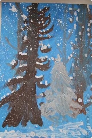 Наши январские произведения на уроках рисования. Снегири на ветке.   фото 5