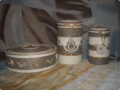 Всегда нравились подобные вещи. Были две старые баночки из под чая, долго думала как бы их оформить уютненько. Увидела блог Alex2218 и вдохновилась!  фото 1
