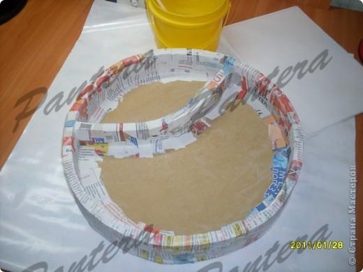 Сделала вот такой небольшой поднос для чашки чая,чтобы за компом культурно время проводить .Диаметр 31,5 см. Оооочень понравилось делать из картона,хотя долго решалась.:)Всем советую попробовать!  фото 7