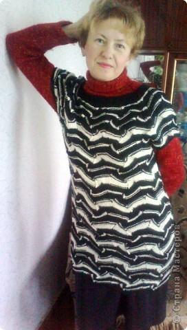 """Мой """"долговяз""""который изначально задумывался как юбка,потом плавно """"перетек"""" в безрукавку,которая в конце концов стала туникой. фото 1"""