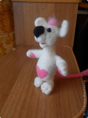 Здравствуйте! Давно хотела сделать белую мышку, такую как у Дватаи или Светульки. Но , ничего похожего у меня не вышло, вот такой зверь невизвестной науке породы, но довольно-таки симпатишный! фото 5
