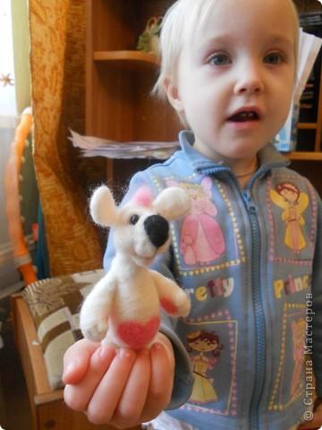Здравствуйте! Давно хотела сделать белую мышку, такую как у Дватаи или Светульки. Но , ничего похожего у меня не вышло, вот такой зверь невизвестной науке породы, но довольно-таки симпатишный! фото 6