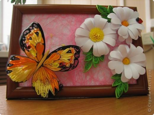 Решила попробовать сделать бабочку, и долго думала куда бы её усадить... Решила сделать что-то вроде ромашкового поля))) фото 1