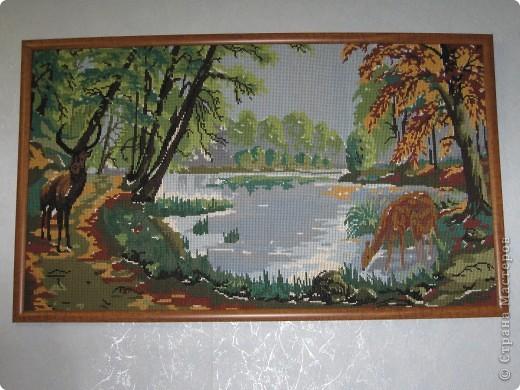 """работы моей мамы """"озеро в лесу"""" фото 1"""