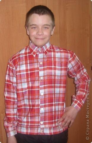 Работа моей ученицы Людмилы, рубашка для младшего брата. фото 1