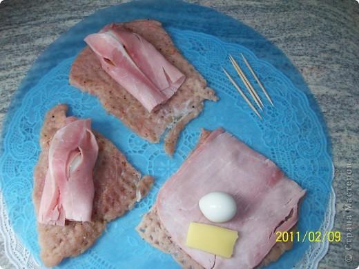 Рулеты с перепелиными яйцами и картофельное пюре. фото 5