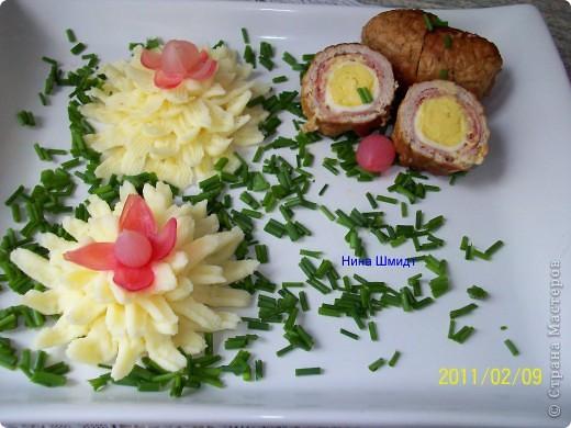 Рулеты с перепелиными яйцами и картофельное пюре. фото 9