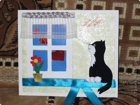 Пока делала открытку появилось много окошечек и много кошечек, принимайте еще одну. фото 1