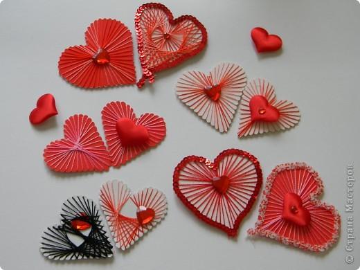 Мастер-класс Поделка изделие Валентинов день Изонить МК - Сердечки в технике изонить без иголки Бумага Нитки фото 10