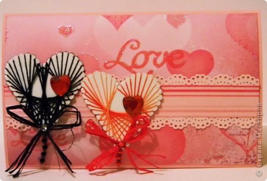 Мастер-класс Поделка изделие Валентинов день Изонить МК - Сердечки в технике изонить без иголки Бумага Нитки фото 11