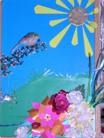 здравствуй лето! Картина из разных типов бумаги. Веточка из бисера, птица покупная, а паучок из фольги (делается очень просто из одной шоколадной обёртки).