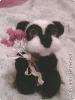 панда с цветами. 10см. фото 1