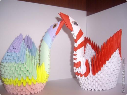 Мы с мамой договорились сделать два лебедя из модулей. Я закончила первая и не удержалась и выставила первая своего лебедя. Слева. фото 6