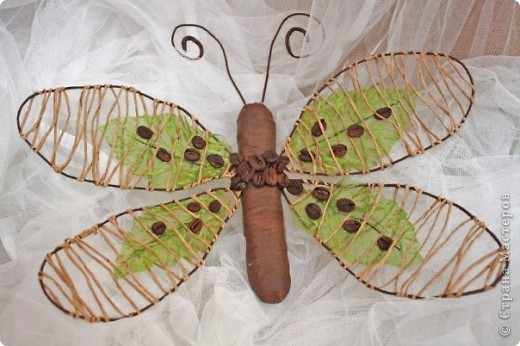это сверх эконом вариант для фанатов бабочек и магнитов (шпагат на проволоке, 4 листочка, тэплента паралон, кофе и готово) фото 2