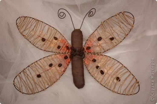 это сверх эконом вариант для фанатов бабочек и магнитов (шпагат на проволоке, 4 листочка, тэплента паралон, кофе и готово) фото 1