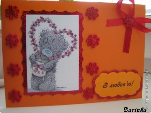 Здравствуйте уважаемые Мастера и Мастерицы.Хочу поздравить всех с наступающим праздником Всех Влюблённых!И пожелать конечно же Любви-большой,взаимной,и чтоб,на всю жизнь!!!Выношу на ваш суд мои валентинки.Первую открыточку увидела у Tatiyna(спасибо за прекрасную идею),и тоже захотела сделать такую же. фото 4