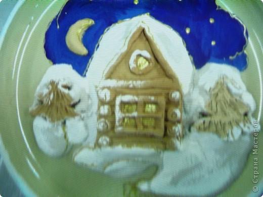 """Декор тарелки """"Зима"""" фото 2"""