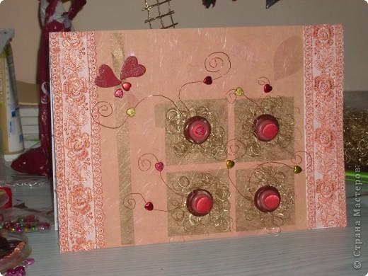 Открытка по скетчу. Цветы из пуговиц на Валентинов День. фото 1