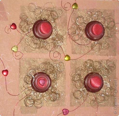 Открытка по скетчу. Цветы из пуговиц на Валентинов День. фото 2