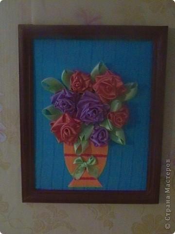 розы из лент.