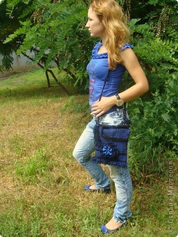 """Гобелен. Сумка """"Синий цветок"""" фото 4"""