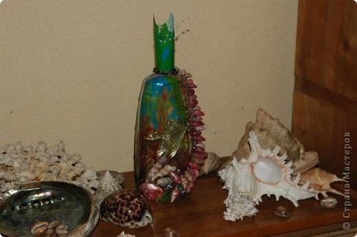Мини аквариум.Ракушки ,разноцветный лак для ногтей и рыбка. фото 2