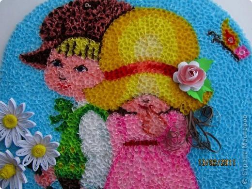 """Здравствуйте, уважаемые Мастера и Мастерицы!!! Сегодня, накануне праздника всех влюбленных, я к вам с торцовочкой, которую назвала """"Первая любовь"""". Сделала я эту картинку вдохновившись одной работой художницы Сары Кей.  Размер работы - 200*300мм. фото 5"""