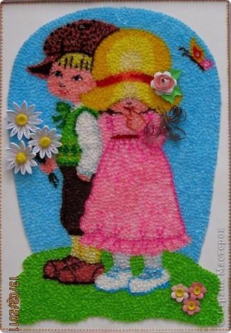 """Здравствуйте, уважаемые Мастера и Мастерицы!!! Сегодня, накануне праздника всех влюбленных, я к вам с торцовочкой, которую назвала """"Первая любовь"""". Сделала я эту картинку вдохновившись одной работой художницы Сары Кей.  Размер работы - 200*300мм. фото 10"""
