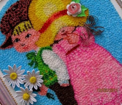 """Здравствуйте, уважаемые Мастера и Мастерицы!!! Сегодня, накануне праздника всех влюбленных, я к вам с торцовочкой, которую назвала """"Первая любовь"""". Сделала я эту картинку вдохновившись одной работой художницы Сары Кей.  Размер работы - 200*300мм. фото 3"""